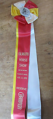 Vintage Falmouth Horse Show Red, Yellow & White Aug. 12, 1973 Horse Show Ribbon