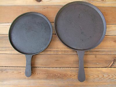 "Early 1800's Gate Marked Cast Iron Griddles 11"" and 13.6"" Handled Round Comal"