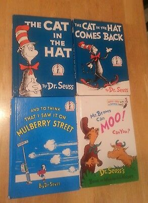 lot of 4 Dr. Seuss books, The Cat in the Hat etc.
