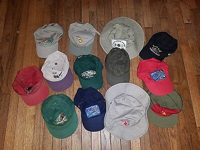 Lot of 13 Boy Scout Camp & Jamboree Hats & Snapback Caps - Used - Some Vintage