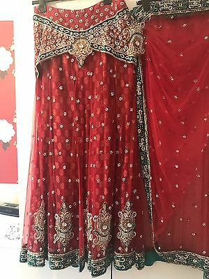 Indian Red Lengha Lengha With Sari Style Dupatta Size 8-10