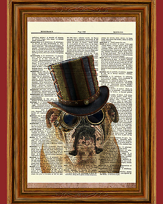 Steampunk Bulldog Dictionary Art Print Poster Picture Dog Victorian Top Hat