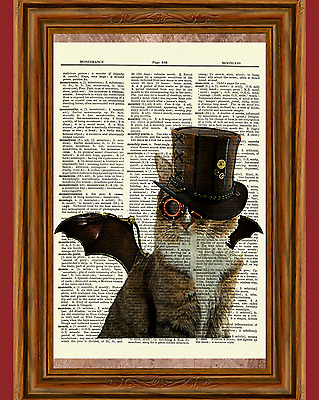 Flying Steampunk Cat Dictionary Art Print Poster Picture Kitty Victorian Top Hat