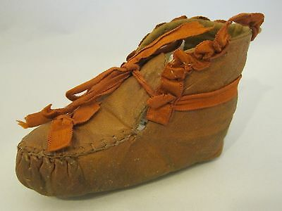 Antique Victorian  Leather Baby Shoe Single w Ribbons Doll Teddybear  SHP