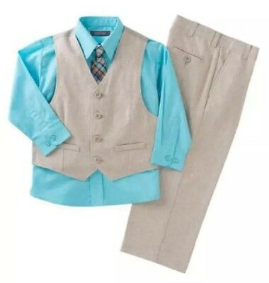 Kenneth Cole Reaction Boys' 4-piece Vest Set KHAKI/BLUE MSRP 50$
