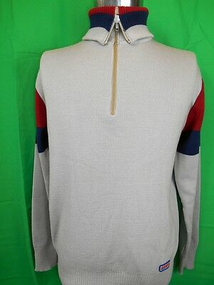 Vintage 70s Grey Acrylic Knitted Banff Roll Turtle Neck Ski Jumper Sweater M