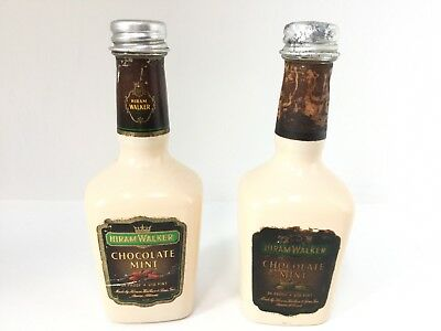 Hiram Walker Salt & Pepper Shakers Vintage Miniature Chocolate Liquor Bottles