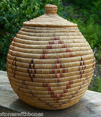 INUIT ESKIMO BASKET coloured design Lid 12x8