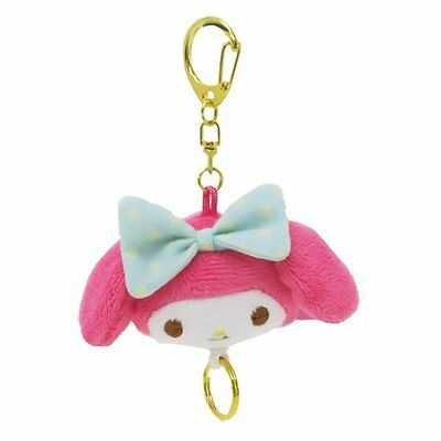 Sanrio My Melody Mint Ribbon Plush Key chain Key Ring w/ Retractable Chain Japan