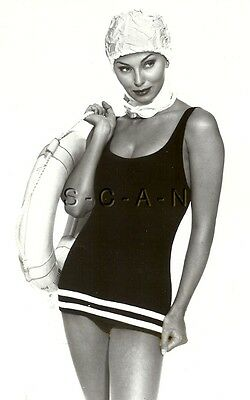 Original 1992 Semi Nude Pinup Press Photo- Roaring 20s Retro Swimsuit- Anne Cole