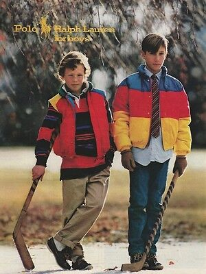 1986 Polo by Ralph Lauren For Boys Hockey Vintage Color Photo Magazine Print Ad