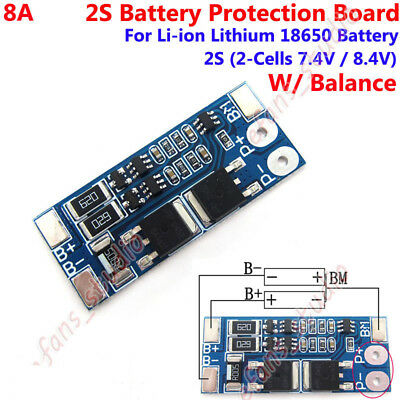 2S 8A 7.4V w/ Balance 18650 Li-ion Lithium Battery BMS Charger Protection Board