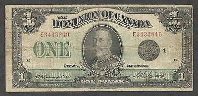 1923 $1.00 DC-25o VG-F SCARCE George V BLACK Seal Dominion of Canada One Dollar