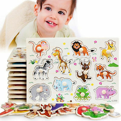 Zoo Animals Wooden Jigsaw Children Kid Baby Learning Educational Puzzle Toy GL