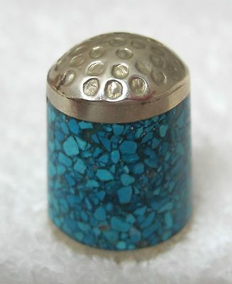 Older Thimble Mexican Silver w w Speckled Turquoise Signed M3