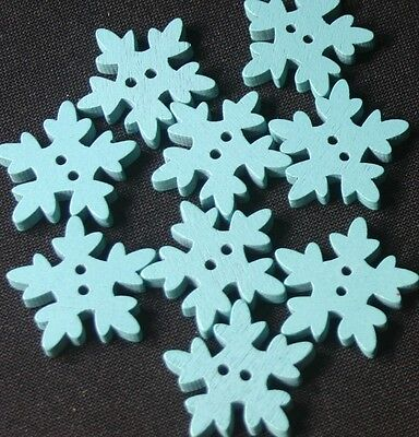 10 Blue Snowflake Wooden Buttons - Frozen,Sewing,Craft,Scrapbooking,Quilting