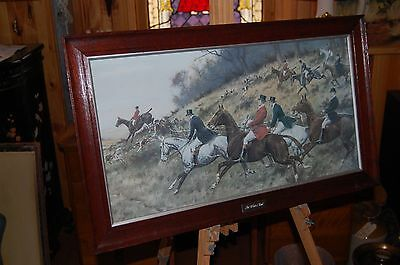 """Large framed and mounted antique  hunting scene  """"The Winter Hunt""""."""