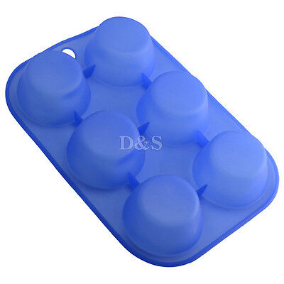 """D2.4"""" 6-Cell Puff Muffin Cupcake Pastry Pudding Silicone Mold Pan Baking Tray"""