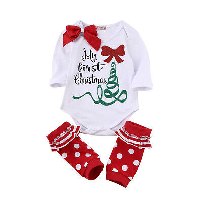 Baby Boy Girl Christmas Tree Romper Tops + Leg Warmer 2PCS Outfits Set Clothes
