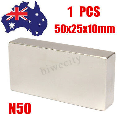 Big Super Strong Large Neodymium Magnet Block Rectangle 50mm x25mm x10mm N50