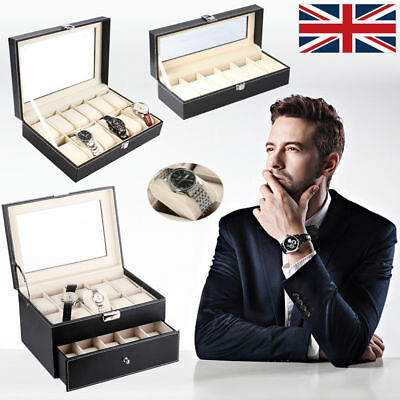 Watch Box 6/12/20Slot Men Black Leather Display Glass Top Jewelry Case Organizer