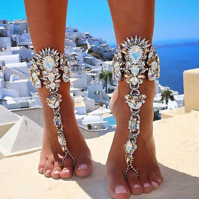 BL_ Bridal Crystal Barefoot Sandals Jewelry Ankle Bracelet Beach Foot Chain Prec