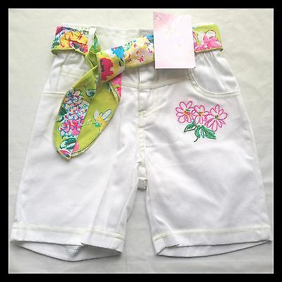 New Baby Girls Papoose Summer White Floral Pant Shorts W/ Belt - Size 2