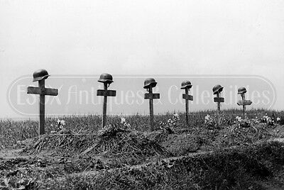 WWII Tombs of German soldier grave helmets Poland WW2 photograph photo 4x6