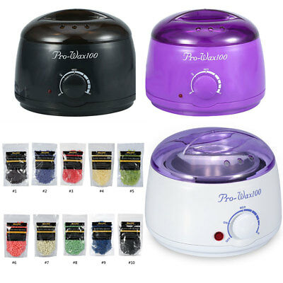 Pro Wax Kit Heater Pot Salon Waxing Hair Removal w/ 100g Brazilian Hot Wax Bean