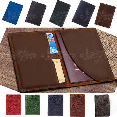 9 Colors Vintage Genuine Leather Bifold Card Wallet Travel Passport ID Holder