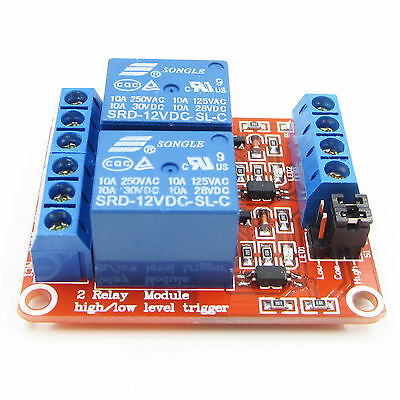 12V 2 Channel Module With Optocoupler High Low Level Trigger Relay