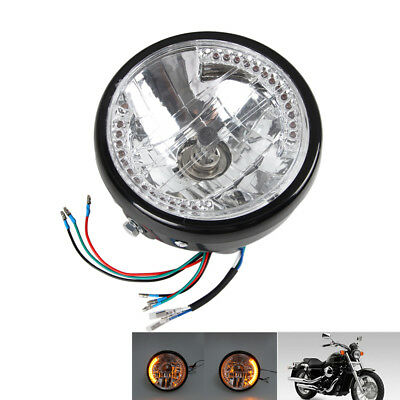"7"" Motorcycle Headlight Amber Turn Signal LED Indicators For Harley Cafe Racer"