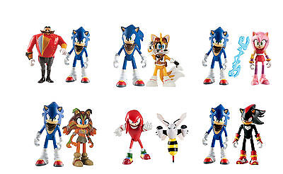 "Tomy Sonic Boom 3"" Twin Figure Pack - Sonic Shadow Dr Eggman Beebot Tails Sticks"