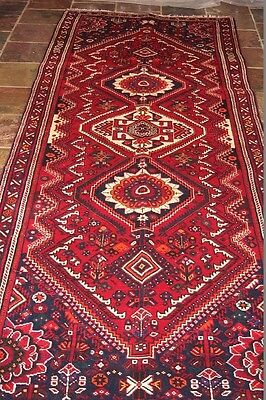 """""""Pole Medallions"""" 316x112 excellent quality Shiraz tribal Persian runner"""