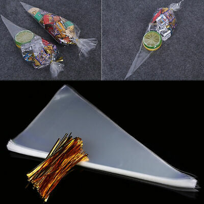 100PCS CLEAR Plain Cone Sweet Candy Gift Party Bags With Twist Ties 30 x 16cm