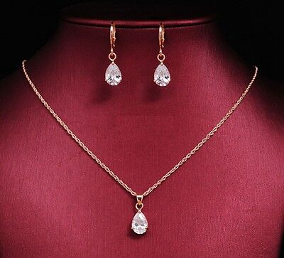 18k Rose Gold Plated Sparking Bridal Earrings and Necklace Jewellery Drop Set