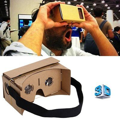 UK FAST DIY Google Cardboard VR Viewer 3D Glasses For iPhone Samsung Android
