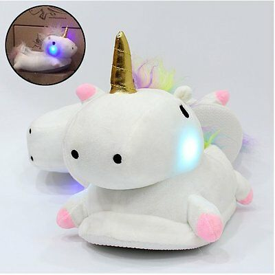 Femme Chaussons Licorne Unicorn Aimable Peluche Blanc Brillant Lampe Slippers