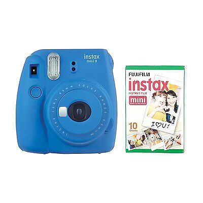 FUJIFILM Instax Mini 9 Instant Camera with 10 Shots - Cobalt Blue