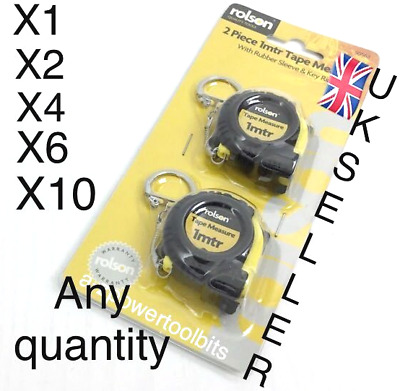 Rolson Tape Measure Key Ring 1M Garage  Builders DIY Hardware Handyman Tools