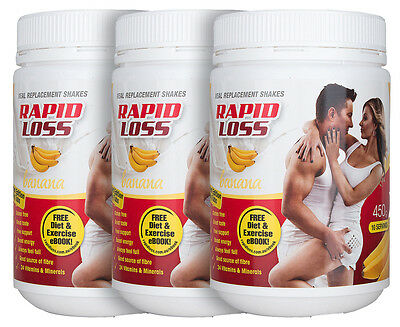 3 x Rapid Loss Meal Replacement Shake Banana 450g