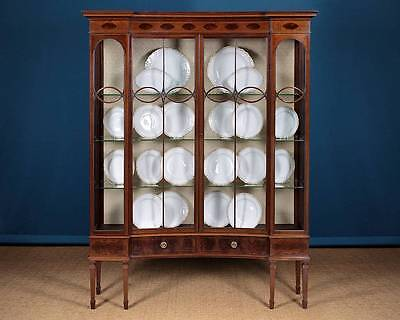Antique Large Edwardian Inlaid Mahogany Display Cabinet by Maple & Co. c.1905.