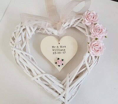 Personalised Wedding Wicker Heart Wreath Gift Or Wedding Decoration With Flowers