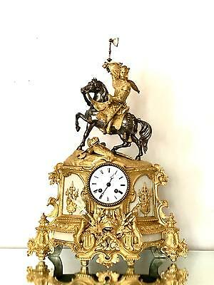 Antique ormolu and silvered bronze clock by Henry Marc of Paris circa 1870