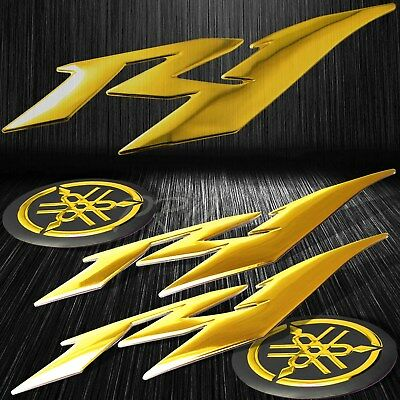 "6"" ABS 3D Logo Emblem+2""Fairing/Fender Badge Sticker for YZF-R1/R1S Chromed Gold"
