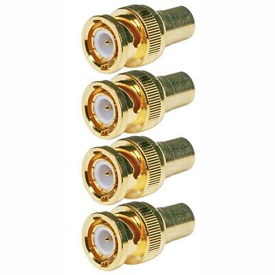 4x BNC Male Connector to RCA Female Jack Adapter Coax Coaxial Gold Plated CCTV