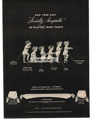 1954 Playtex Baby Toddler Rubber Pants Vtg Print Ad