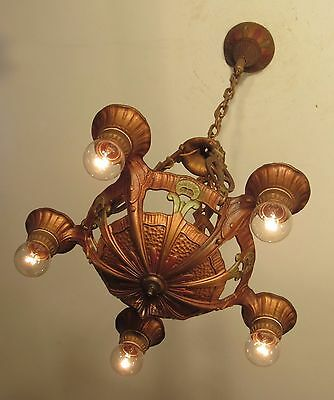 Antique Lincoln Light Fixture Chandelier Polychrome - Professionally Restored!
