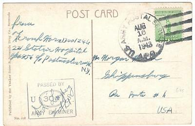 a348 Bermuda PPC US Army Postal Service passed by U S Army Examiner