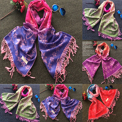 Women Flower Warm Soft Pashmina Shawl Wrap Stole Cashmere Scarf Scarves US Hot